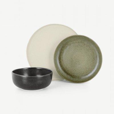 MADE.COM Ingram 12-delige serviesset, Ivory groen en houtskoolgrijs
