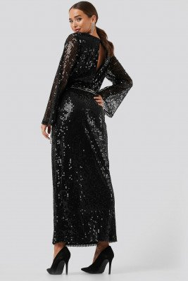 NA-KD Party NA-KD Party Trumpet Sleeve Sequin Dress - Black