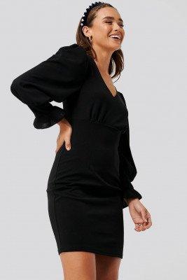 NA-KD NA-KD Balloon Sleeve V-neck Dress - Black