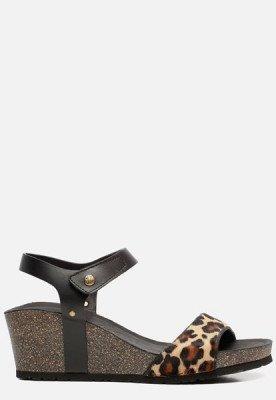Panama Jack Panama Jack Victory Leopard B3 sandalen met sleehak zwart