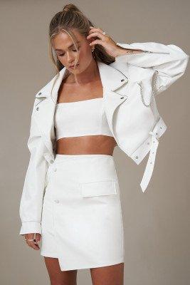Hanna Schönberg x NA-KD Asymmetrische Mini-Rok - White