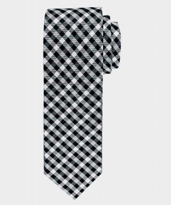 Michaelis Michaelis heren geruite zijden stropdas zwart