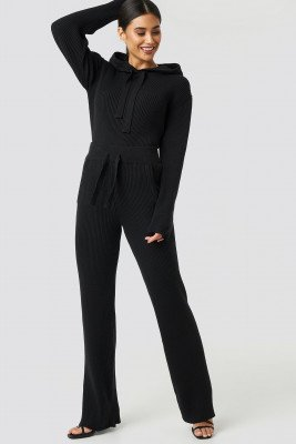 XLE the Label XLE the Label Greg Rib Knitted Pants - Black
