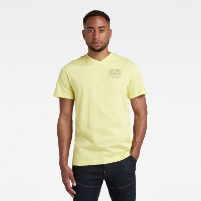 G-Star RAW T-Shirt Back Logo Slim - Geel - Heren