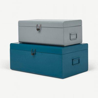 MADE.COM Daven set van 2 koffers, teal en grijs