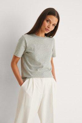 NA-KD Basic NA-KD Basic T-Shirt Van Biologisch Katoen Met Ronde Hals - Grey