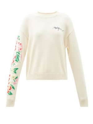 Matchesfashion MSGM - Floral-intarsia Logo-embroidered Cotton Sweater - Womens - Cream