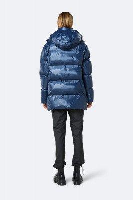 Rains Rains Dames Puffer Hooded Coat - Shiny Blue