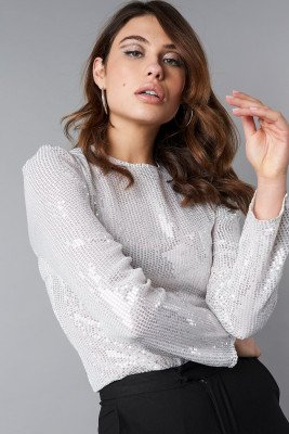 NA-KD Party Transparent Sequins LS Top - Silver