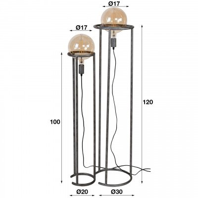 LifestyleFurn Vloerlamp 'Kerri' 2-lamps, Ø200mm, kleur Oud Zilver