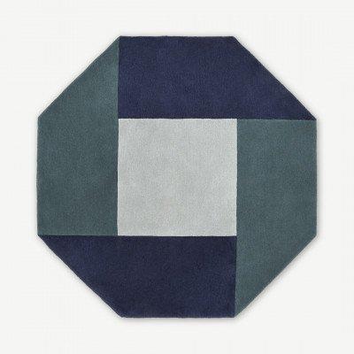 MADE.COM Shenzi handgetuft wollen vloerkleed, groot, 200cm, donkerblauw en donkerturkoois