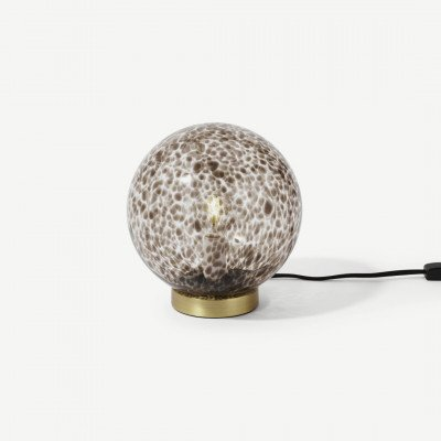 MADE.COM Julia tafellamp, bruin gevlamd glas en messing