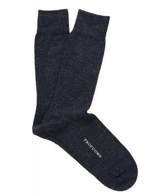 Profuomo Profuomo heren antraciet uni katoen-wollen sokken