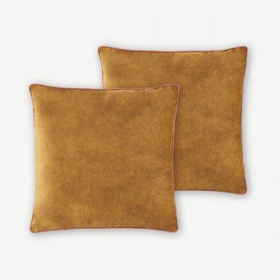MADE.COM Castele set van 2 kussens, 50x50cm, warm goud