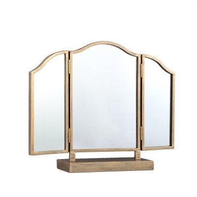Firawonen.nl PTMD Dayla Gold metalen staande drieluik spiegel