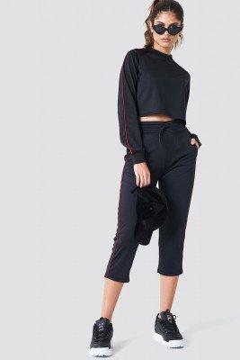NA-KD NA-KD Cropped Track Pants - Black