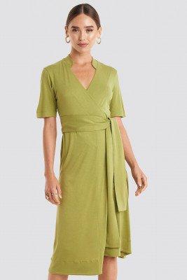 NA-KD NA-KD Wrap Jersey Midi Dress - Green