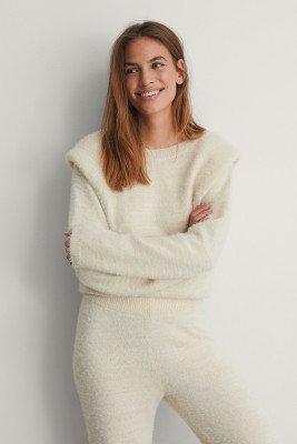 NA-KD Trend NA-KD Trend Sweater Met Schoudervullingen - Offwhite