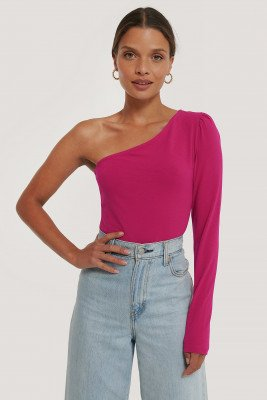NA-KD Trend Puff Sleeve One Shoulder Top - Pink