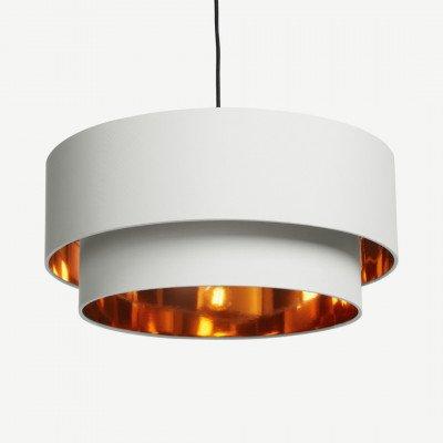 MADE.COM Oro gelaagde hanglampenkap, grijswit en koper