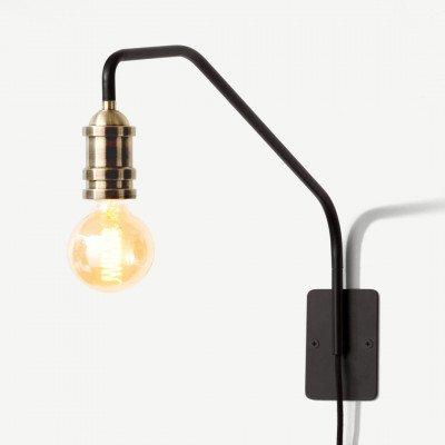 MADE.COM Starkey wandlamp, zwart en messing