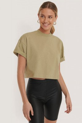 Dr Denim Cropped T-Shirt - Green