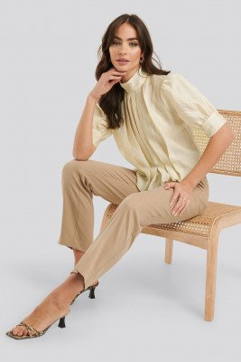 NA-KD Trend NA-KD Trend Structured Organza Gathered Blouse - Beige