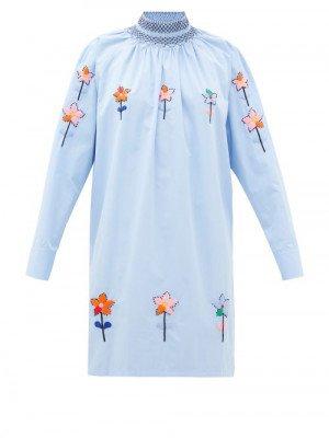 Matchesfashion Prada - Floral-embroidered Cotton-poplin Tunic Blouse - Womens - Light Blue