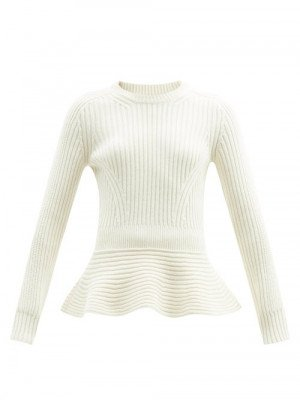 Alexander Mcqueen - Peplum Ribbed Wool-blend Sweater - Womens - Ivory
