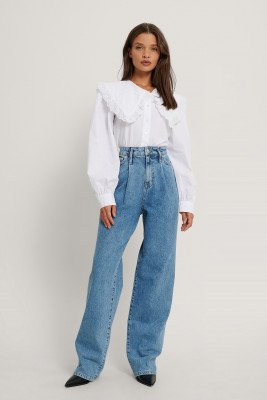 NA-KD Reborn NA-KD Reborn Organisch Geplooide Jeans Met Wijde Pijpen - Blue