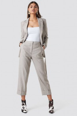 NA-KD Classic NA-KD Classic Folded Straight Suit Pants - Grey