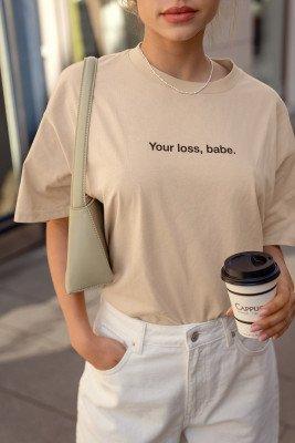 NA-KD NA-KD Organisch T-shirt Met Print Van Biologisch Katoen - Beige