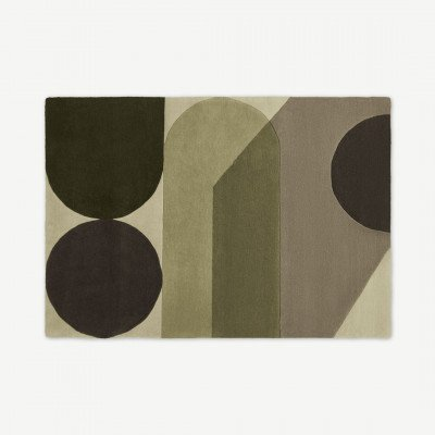 MADE.COM Zayyan handgetufte wollen vloerkleed met geometrisch design, groot, 160 x 230 cm, groen en grijs
