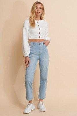 Misslisibell x NA-KD Misslisibell x NA-KD Rechte Jeans Met Hoge Taille - Blue