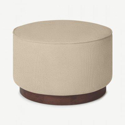 MADE.COM Hetherington grote poef met houten onderkant, donkerbeige en donkergebeitst hout