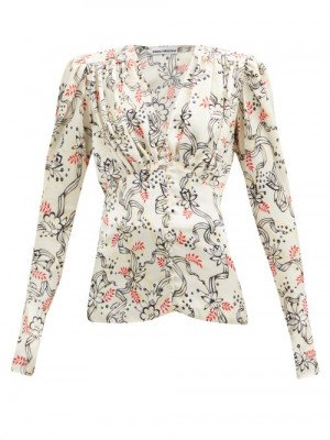 Matchesfashion Paco Rabanne - Gathered Ribbon And Floral-print Satin Top - Womens - Beige Print