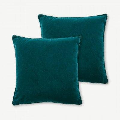 MADE.COM 2 x Julius kussens, 45 x 45 cm, blauwgroen fluweel