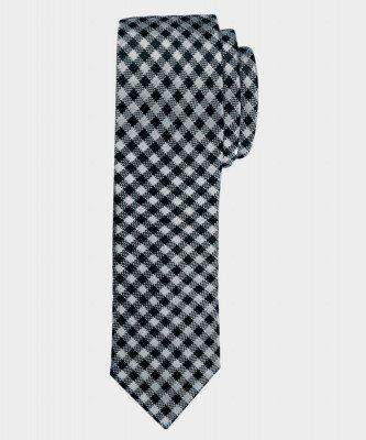 Michaelis Michaelis heren geruite smalle zijden stropdas grijs