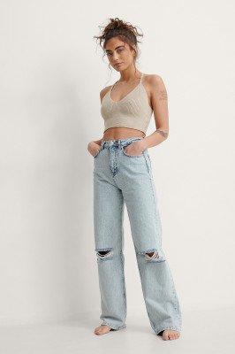 NA-KD Trend NA-KD Trend Vernietigde Jeans Met Wijde Pijpen In Acid Wash - Blue