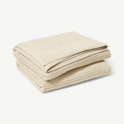 MADE.COM Ivo set van 2 badhanddoeken, 100% biologisch katoen, lichtbeige