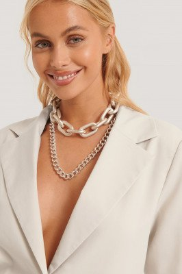 NA-KD Accessories Double Pack Oversize Chain Necklaces - Silver