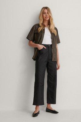 NA-KD NA-KD Rechte Jeans Met Coating - Black
