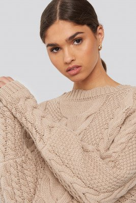 NA-KD Trend Cable Knitted Ribbed Sleeve Sweater - Beige