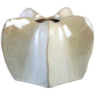 Firawonen.nl Winter white glazed ceramic round low vase s