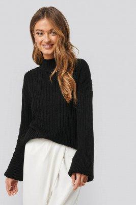 NA-KD Trend Dropped Big Sleeve Sweater - Black