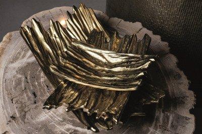 Firawonen.nl PTMD Terza Gold aluminium geribbelde schaal rechthoek S