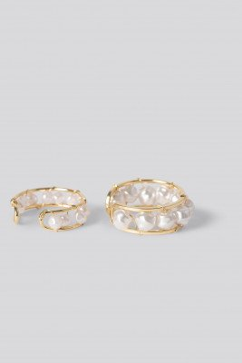 NA-KD Accessories Pearl Detail Rings - Gold