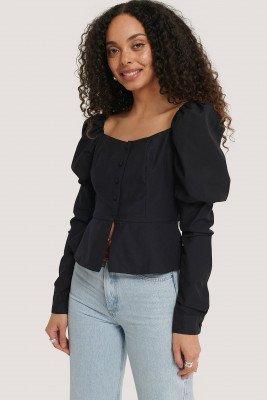 NA-KD Boho Buttoned Puff Sleeve Blouse - Black