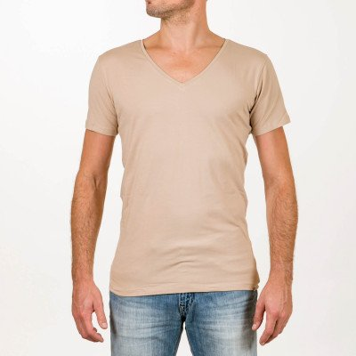 SKOT Fashion Duurzaam t-shirt heren Deep V-neck Invisible 2 pack - Taupe - Maat M