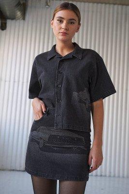 Stefanie Giesinger for nu-in 100% Organic Short Sleeve Oversized Laser Print Denim Shirt